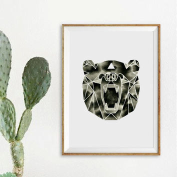 Watercolor Bear Painting . Bear Art . Geometric Animal Artwork . Black White Illustration . Graphic Modern Art