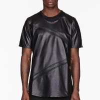 BLACK BUFFED LEATHER PIN TUCK T-SHIRT