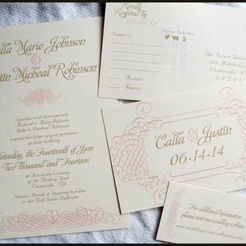 Elegant Romance Vintage Wedding Invitation Set by RunkPock Designs / swirl script calligraphy design shown in blush pink and gold on ivory