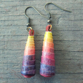 Ombre Paper bead earrings - Eco jewelry - Bohemian earrings - Watercolor jewelry - Upcycled, recycled, repurposed - Valentine's Day gift