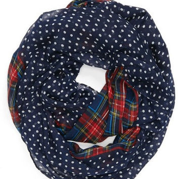 2016 New Fashion Women/Ladies Navy /Red/Beige/Green Color Dotted and Plaid Check Infinity Shawls Scarf Snood Loop Scarves