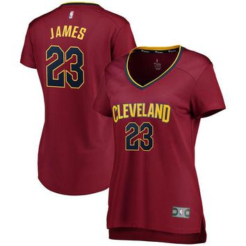 Women's Cleveland Cavaliers LeBron James Fanatics Branded Maroon Fast Break Replica Iconic Edition Jersey