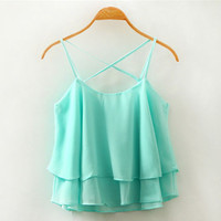Cross Straps Layered Chiffon Tank Top