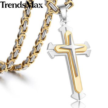 Trendsmax Mens Necklace Pendant Stainless Steel Chain 3 Layer Knight Cross Silver Gold Black Color KP179-KP180
