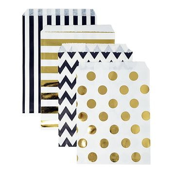 48 Black and Gold Polka Dot Chevron Stripes 5x7 Paper Treat Bags Goody Favor Bags