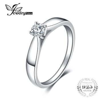 JewelryPalace Lovely 0.2ct Engagement Solitaire Ring 925 Sterling Silver Rhodium Plated Wedding Jewelry For Girl On Sale