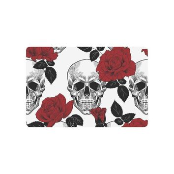 Autumn Fall welcome door mat doormat Sugar  Anti-slip  Home Decor, Red Rose Indoor Outdoor Entrance  Rubber Backing AT_76_7