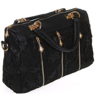 Floral Lace with Diamond Zipper Slider Handbag