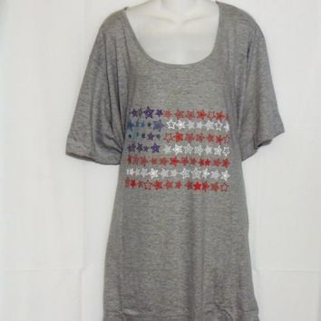 Dreams Co Plus Size 5X 6X Nightgown Gray American Flag Graphics New