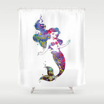 Little Mermaid Watercolor Shower Curtain by Bitter Moon