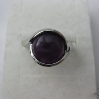 Amethyst Stone Silver Plated Ring - Size 7.5