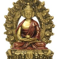 Small Nepali Buddha, Gold and Red - O-067GR