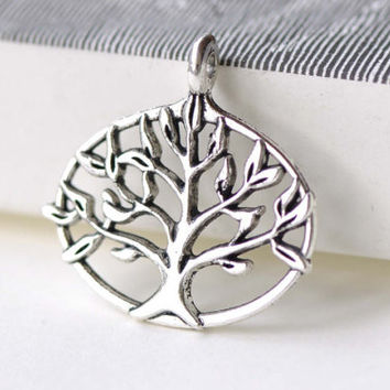 Oval Tree Ring Antique Silver Pendants Charms  27x27mm Set of 10  A8228