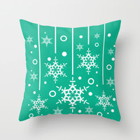 Let it Snow...(Emerald) Throw Pillow by Lisa Argyropoulos