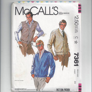 McCall's Pattern for Men's Sweater or Vest for Stretch Knits, From 1980, Size 44, Vintage Pattern, Sewing for Men, Button Front