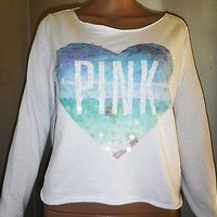 Victoria's Secret sequin Heart Crop top Long sleeve size XS white Pink work out