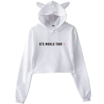 KPOP BTS Bangtan Boys Army   Hoodie Bulletproof Juvenile Group Periphery World Tour Woman A Navel  Cat Ears Fans Respond Sweatshirt  AT_89_10