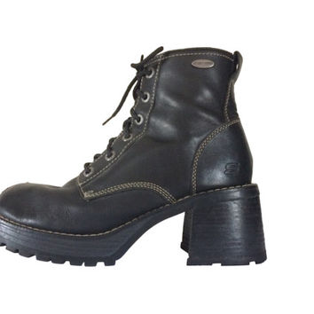 90s Black Boot Black Ankle Boot Lace Up Ankle Boot Women Boot Size 9 Skechers Boot 90s Ankle Boot 90s Grunge Boot 90s Chunky Heel Boot Block