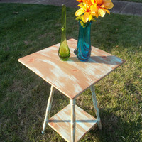 Antique Farmhouse Wood Side Table - Painted, Distressed