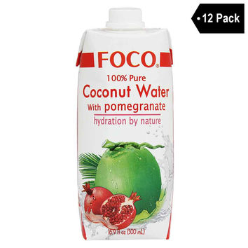 12 Pack Foco 100% Pure Coconut Water with Pomegranate 16.9 fl. oz.