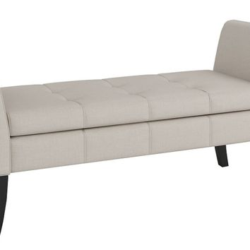 Junes Tufted Flax Fabric Storage Bench Ivory