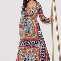 Animal Scarf Print Surplice Neck Maxi Dress