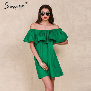 Simplee Apparel Ruffles slash neck women dress Summer style off shoulder sexy dresses vestidos White tube beach dress cotton