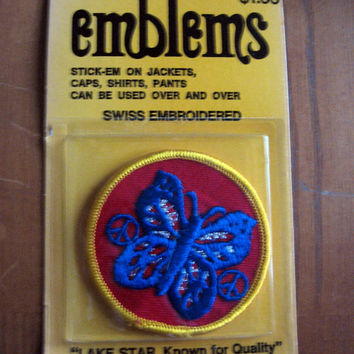 PEACE BUTTERFLY Patch vintage 60s 70s Sign Symbol Sewing Notion Backpack Hippie NOS Craft Supply Red Yellow Blue