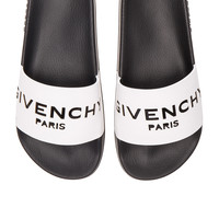 Givenchy Leather Logo Slide Sandals in White | FWRD