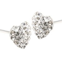 .925 Sterling Silver Crystal Heart Shape 6mm Stud Earrings
