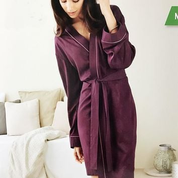 femme spring\autumn long floral night\gown\slaap robes female purple bandage kimono bathrobes\peignoir for dames\mujer\woman