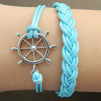 Fashion simple Leather Adjustable Bracelet ZAKKA ( Vintage Silver ) vintage alloy rudder pendant blue Braided Bracelet
