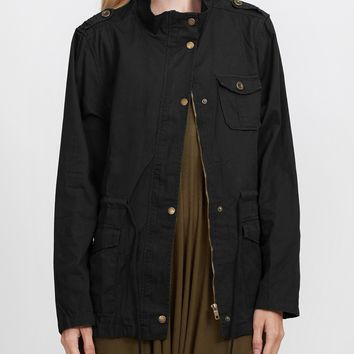 Anorak Utility Military Jacket with Drawstring