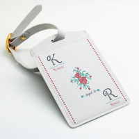 Two tags set - Personalized Luggage Tag, Bag Tag, Travel Tag, Wedding tag, Custom Name Monogram, Text and Date, Floral Flower Rose (E69)