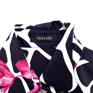Versace Vintage 100% Silk Floral/Animal Print Long Sleeve Blouse Size 42 Button Down Shirt