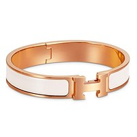 Hermes Bracelet Women's Men Enamelled Palladium H Wide Bracelet White gold