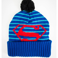 Superman Stripes Blue Pom Beanie
