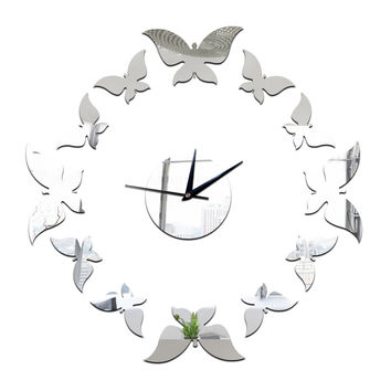 Living Room Decoration Silver Butterfly Wall Clock   silver