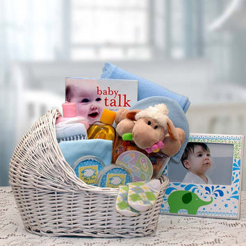 Welcome Baby Bassinet Gift Basket - Blue