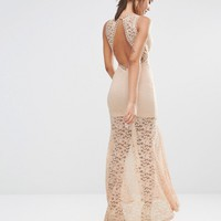 Love Triangle Lace Plunge Front Maxi Dress with Ladder at asos.com