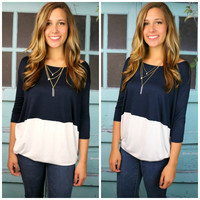 Block Party Navy & White Colorblock Top