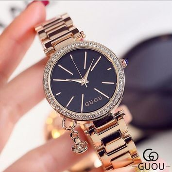 GUOU Top Diamond Wrist Watch Fashion Rose Gold Watch Women Watches Women's Watches Clock saat bayan kol saati relogio feminino