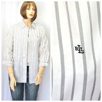 Vintage 80s Ralph Lauren pin striped white cotton oxford shirt L Lauren preppy long sleeve button down oxford blouse size14 SunnyBohoVintage