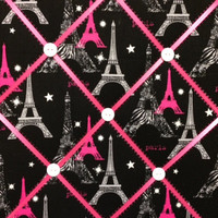 Black, Hot Pink and Zebra Paris Photo Memory Board
