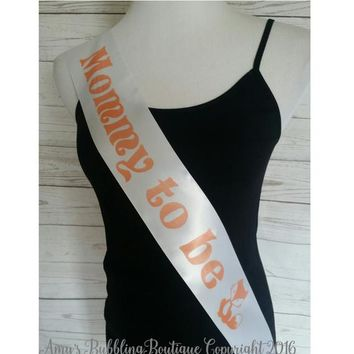 Woodland Baby Shower Sash, Rustic Sash for Mommy To Be to wear at Unisex Boho Baby Shower or Baby Sprinkle, Rhinestone Pin Included Free