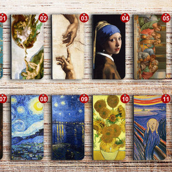 iphone 6 wallet case leather oil painting for apple iphone 4 4s 5 5s 5c 6 plus ipod touch oilpainting