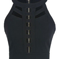Black Cut Out Detail Tight Cropped Vest