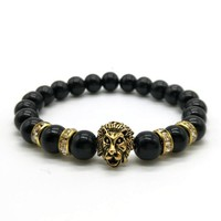Men's Lion Head Bracelet with Natural Stone Beads   10 Colors & Styles