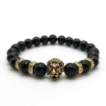 Men's Lion Head Bracelet with Natural Stone Beads | 10 Colors & Styles
