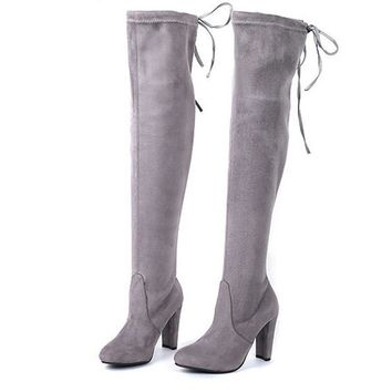 Faux Suede Women Over The Knee Boots Lace Up Sexy High Heels Shoes Woman Female Slim Thigh High